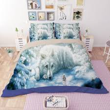 wolf bed set free shipping christmas gift novelty animal wolf pattern bedding