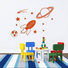 Decoration Kids Wall Decals Home by Mad World Space Rocket Planet Star Comet Kids Wall Art Sticker Art