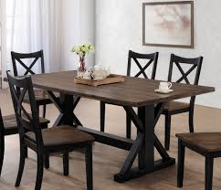 lexington casual black rustic oak hardwood rectangle dining table