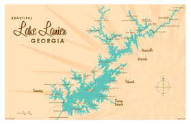 lake lanier map lake lanier ga map print lakebound lake maps