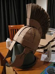 partial making of cardboard roman soldier helmet flickr