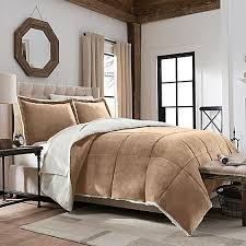 Bedding At Bed Bath And Beyond So Soft Plush Velvet Berber Down Reversible Comforter Set Bed