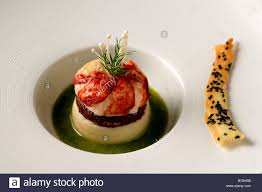 haute cuisine apéro breton lobster blackpudding and potato puree haute