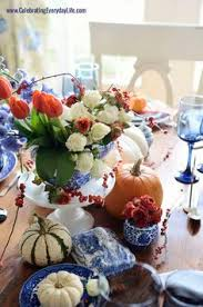 nancy s daily dish blue and orange thanksgiving table