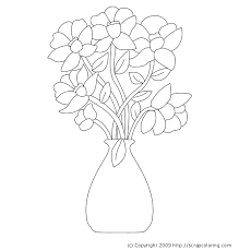 Vase Drawing Flowers In Vase Coloring Page