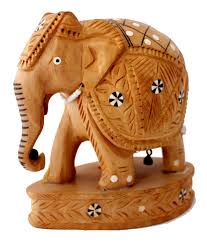 an amazing hand carved indian royal wooden elephant figurine inlay