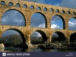 pont du gard three tiered roman aqueduct bridge near town of stock