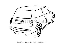 car back side view black white stock vector 737077879 shutterstock