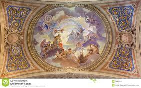 venice ceiling restored fresco in baroque church saint mary