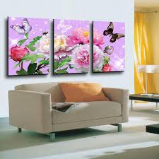 Canvas Without Frame 3 Panels Colorful Flower With Butterfly Hd Picture Canvas Modern