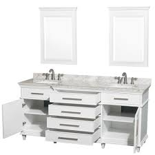 Ackley  Inch White Finish Double Sink Bathroom Vanity Marble Top - Bathroom vanities with marble tops