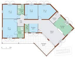 plan de maison en v plain pied 4 chambres plan maison en v plan maison