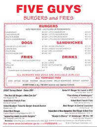 five guys burgers u0026 fries menu with prices 1230 p st lincoln
