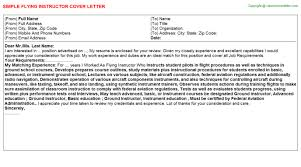 flying instructor cover letter