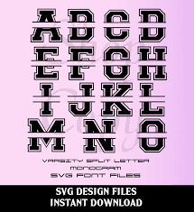 Letter Monogram Varsity Split Letter Monogram Font And Numbers Svg Studio V3 Cut