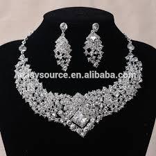 earring necklace sets wedding images Clear rhinestone crystal earrings necklace set bridal wedding jpg