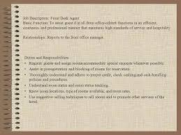 Hotel Front Desk Agent Front Office Organization Chart Ppt Online Download