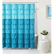 Aqua Blue Shower Curtains Lavish Home Ruffle Shower Curtain With
