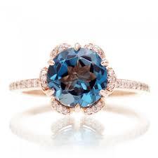 flower halo engagement ring blue topaz flower halo engagement ring