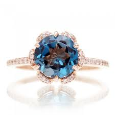 london blue topaz engagement ring blue topaz diamond flower halo engagement ring