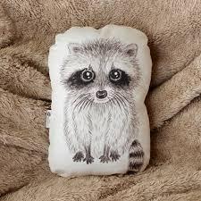 Raccoon Nursery Decor Raccoon Pillow Woodland Nursery Decor Animal Pillow