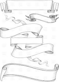 engraved ribbon ribbon banners in engraving style vector clipart image 25061
