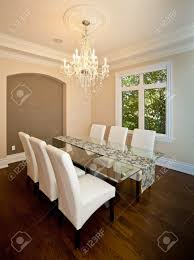 side view of an elegant dining room in a luxury house stock photo