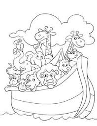 print coloring image ark sunday bible