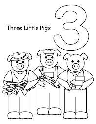 coloring sheet 3 little pigs cartoon loving printable