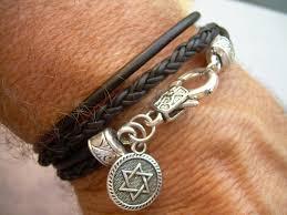 leather star bracelet images Star of david leather bracelet men 39 s bracelets leather star of jpg