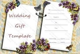 gift cards for wedding two sides wedding gift certificate template