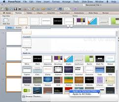 applying themes in powerpoint word and excel 2011 for mac