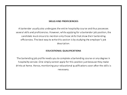 Bartender Job Description For Resume by Bartender Resume Template Pdf