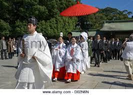 japan tokyo meiji shinto shrine traditional shinto wedding stock