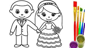 how to draw little bride and groom coloring pages videos for