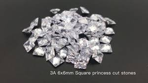 clear gemstones 3a quality cubic zirconia white clear 6x6mm square princess cut cz