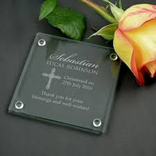 baptism engraving engraved birth announcement glass coasters christening favour