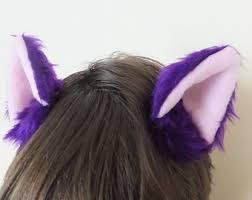 Neko Halloween Costume Lilac Purple Furry Cosplay Cat Neko Ears Hair Clips Tail