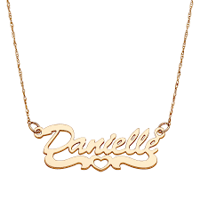 script name necklace 10k yellow gold script name necklace with open heart 37015