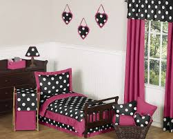 Girls Pink And Black Bedding by Black White Pink Polka Dot Toddler Bedding Bed In A Bag