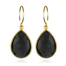 tear drop earrings cabo gem teardrop earring black gold amelia design
