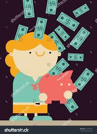 His And Her Piggy Bank Businesswoman Gets Lots Money Falling Sky Stock Vector 713244415