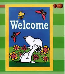 garden flag snoopy peanuts welcome butterfly flowers sun large