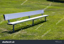 metal childrens sports bench on grass stock photo 421574077