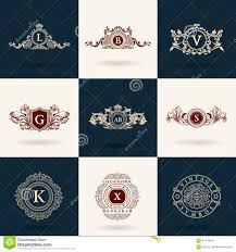 vintage flourishes elements calligraphic ornaments set stock