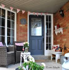 rustic maple front porch canada day decor