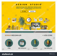 Home Design Studio App by Flat Web Design Template One Page Stock Vector 398608072