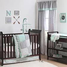 Green Elephant Crib Bedding Mint Woodland And Geometric Patchwork 4 Crib