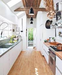 Galley Kitchen Width - galley kitchens with hardwood floor and two sided cabinets