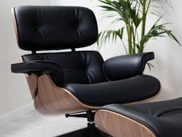 Office Chair And Ottoman Furniture Black Leather Upholstered Tufted Swivel Eames Lounge